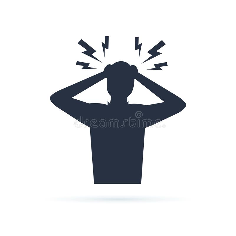 Headache glyph icon. Silhouette symbol. Anger and irritation. Fr vector illustration