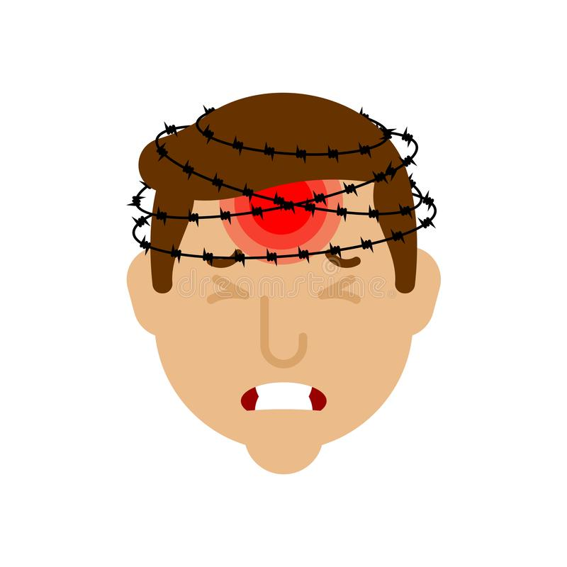 Headache. Head pain and barbed wire. Metaphor of problems and reduced health. pain medical health care concept.  stock illustration