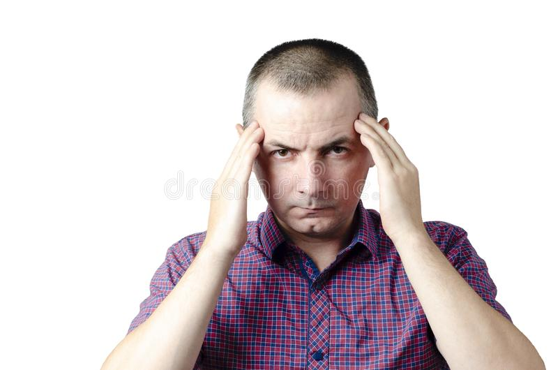 Headache. The man caught a cold, got sick, has a headache and holds his head in his hands stock images