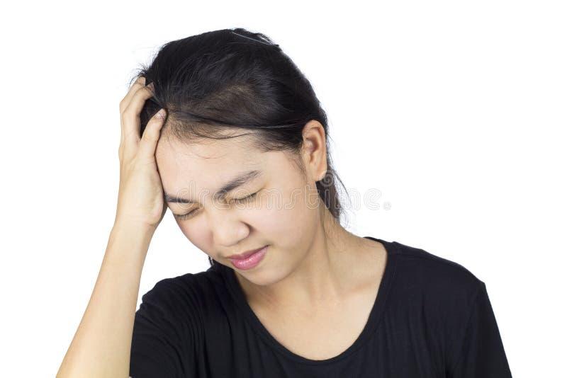 Headache migraine. Women headache migraine brain pain white background stock image