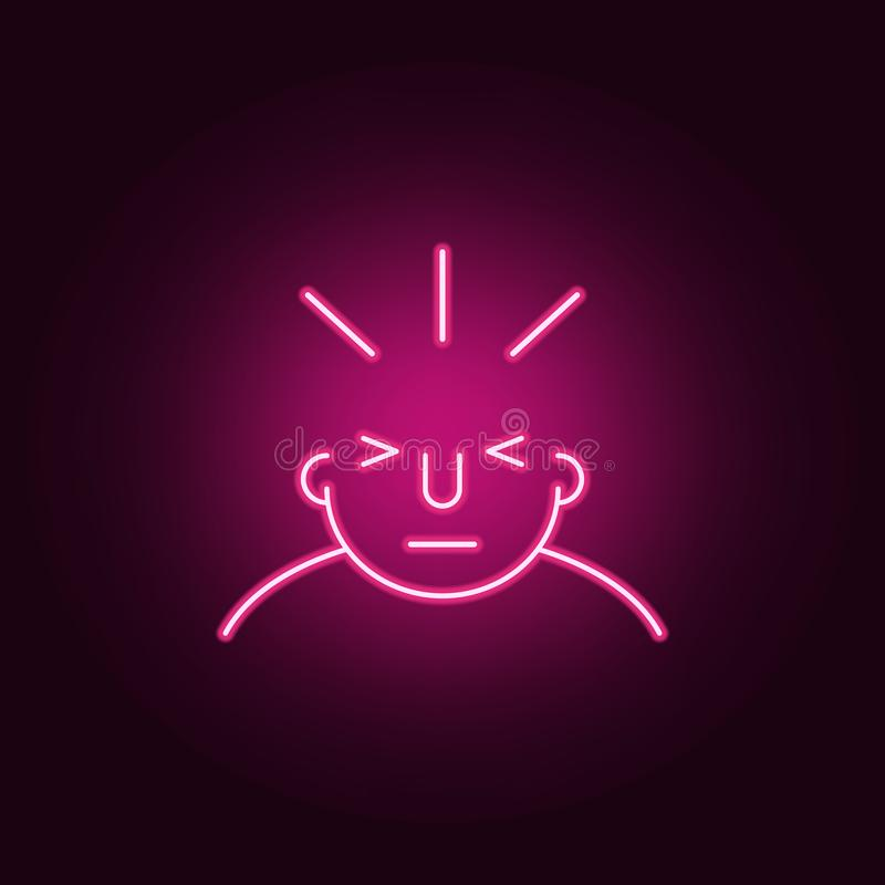 Headache on mind icon. Elements of What is in your mind in neon style icons. Simple icon for websites, web design, mobile app,. Info graphics on dark gradient royalty free illustration