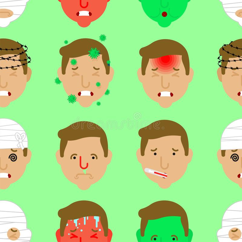 Headache pattern seamless. Head Pain background. Concussion and cold. High fever and heat infection. Flu virus. Nausea and. Dizziness. Metaphor of problems and stock illustration