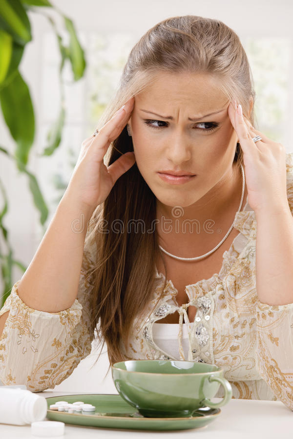 Headache And Pills Royalty Free Stock Image