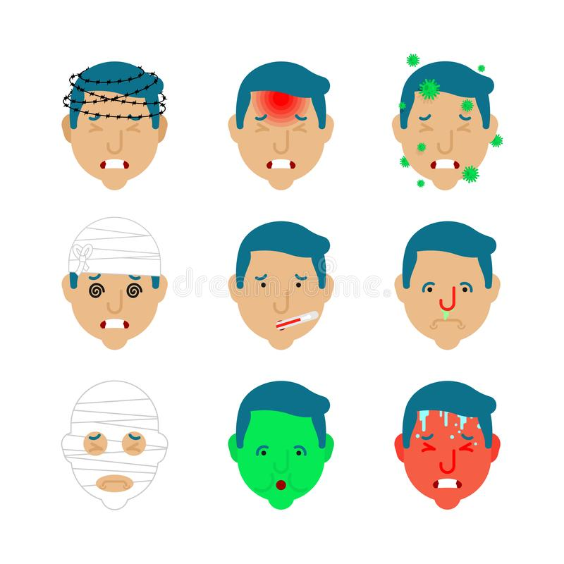 Headache set. Pain Bandaged head. Concussion and cold. High fever and heat infection. Flu virus. Nausea and dizziness. Metaphor of. Problems and reduced health stock illustration