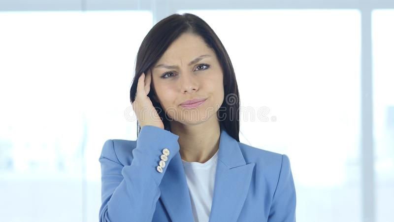 Headache, Upset Tense Young Female in Office stock photos