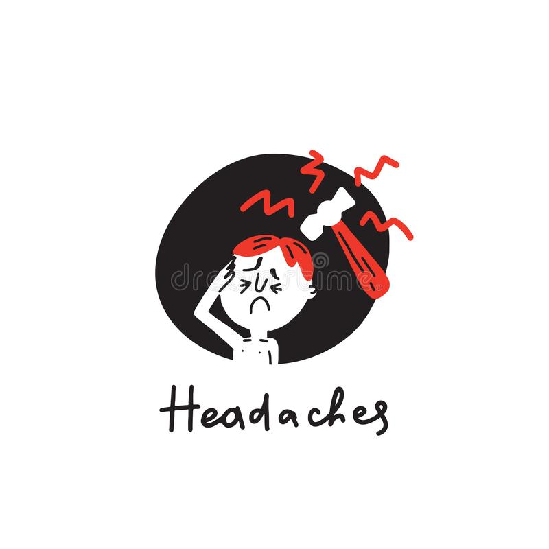 headaches A ilustração tirada mão de Funnay do homem sofre das dores de cabeça, hummer Vetor ilustração royalty free