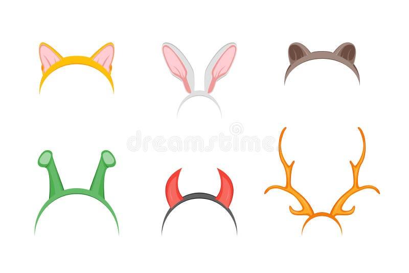 Headband με το σύνολο διακοπών αυτιών διάνυσμα διανυσματική απεικόνιση