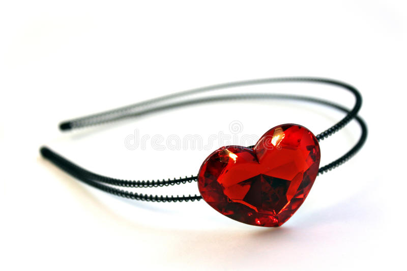 Headband. We see isoleted black Headband with big red heart royalty free stock photography