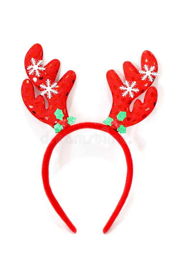 Headband Christmas, Reindeer antlers Red doll headband-hairbrush hat for festival of Christmas and new year isolated on a white b. The Headband Christmas stock photography