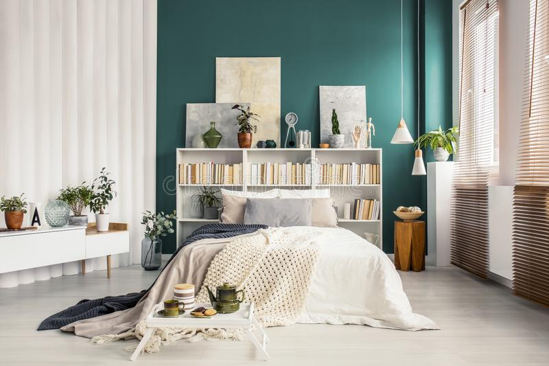 Headboard βιβλιοθηκών στην πράσινη κρεβατοκάμαρα στοκ εικόνα
