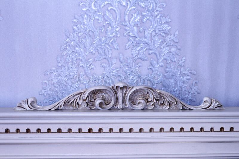 Headboard vintage, wooden with wood carving.  royalty free stock image