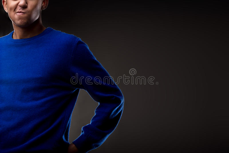 Headcut Gestaltung eines Mannes mit einem Zweifel stockfotografie