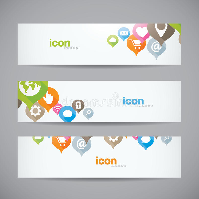 Heade abstracto creativo de la bandera del icono del web del fondo stock de ilustración