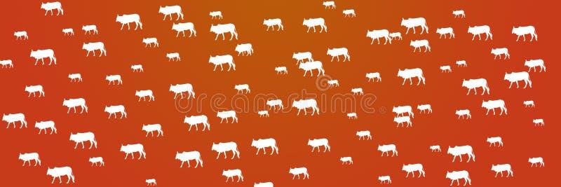 Header Background Domestic Animals Cow Farming vector illustration