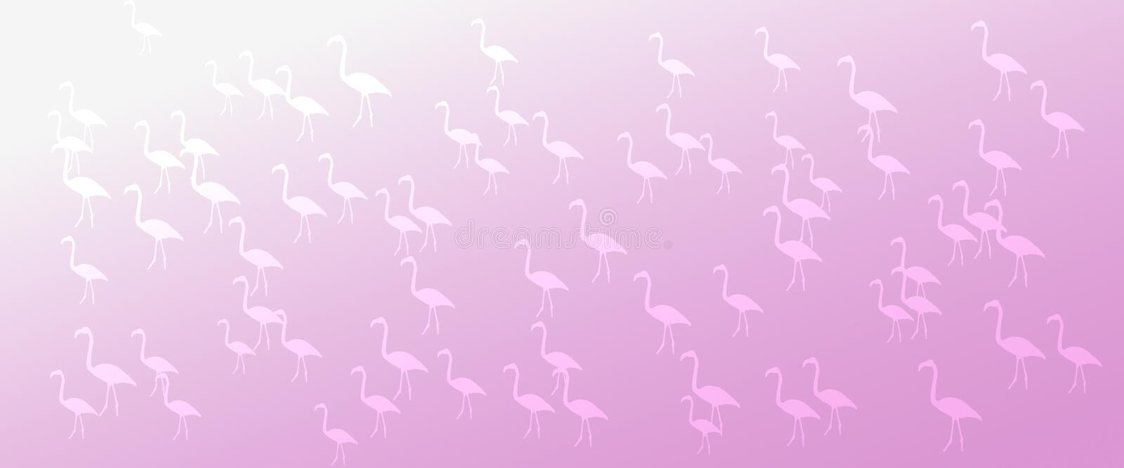Header Background Pink Gradient Flamingo Birds Pattern. For websites, webpages , posters, banners, letterheads, presentations, logos, icons, designing royalty free stock image