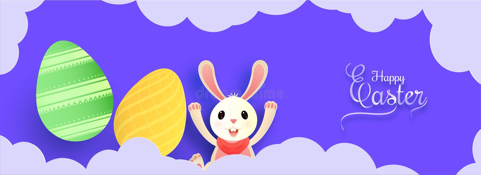 Header banner or poster design with illustration of easter egg, bunny on sky view background for Easter Party. royalty free illustration