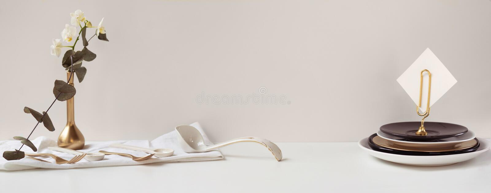 Header, banner for site design. Set of dishes for serving. Horizontal format, space for text stock image