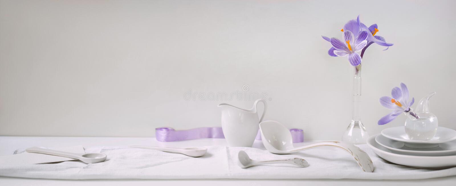 Header, banner for site design. Set of dishes for serving. Horizontal format, space for text stock photography