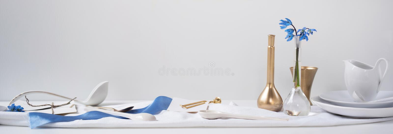 Header, banner for site design. Set of dishes for serving. Horizontal format, space for text royalty free stock photography