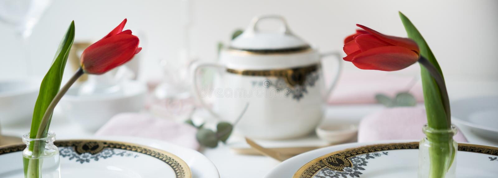 Header, banner for site design. Set of dishes for serving, Tulips, red. Horizontal format, space for text stock image