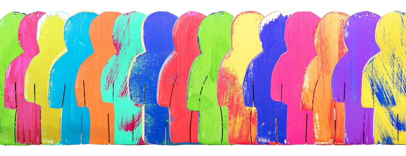 Header, colorful wooden figures in a line, concept community and royalty free stock photo