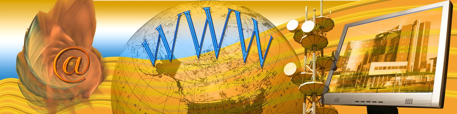 Header: E-commerce and world wide connections II vector illustration