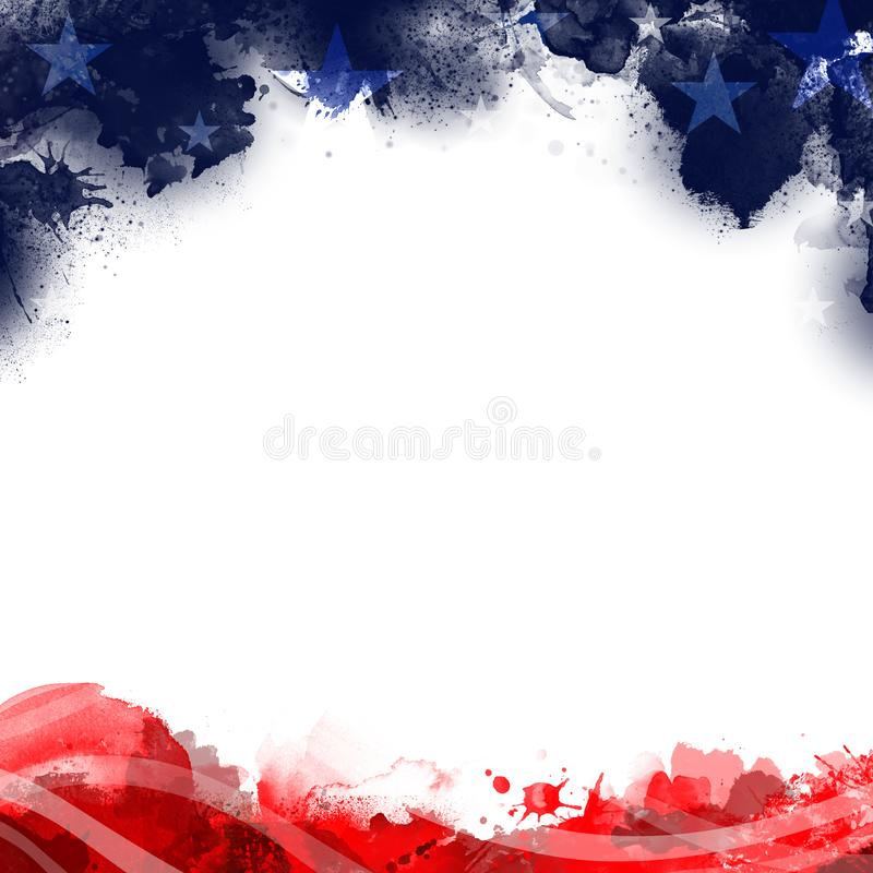 A header footer illustration of United States Patriotic background in flag colors stock illustration