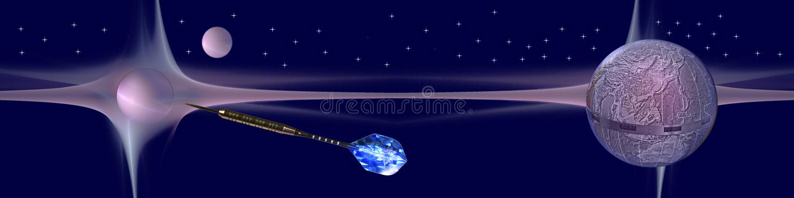 Header Hit your targets. This banner / header shows planets and our earth floating in space. The arrow is on its way to hit a target royalty free illustration