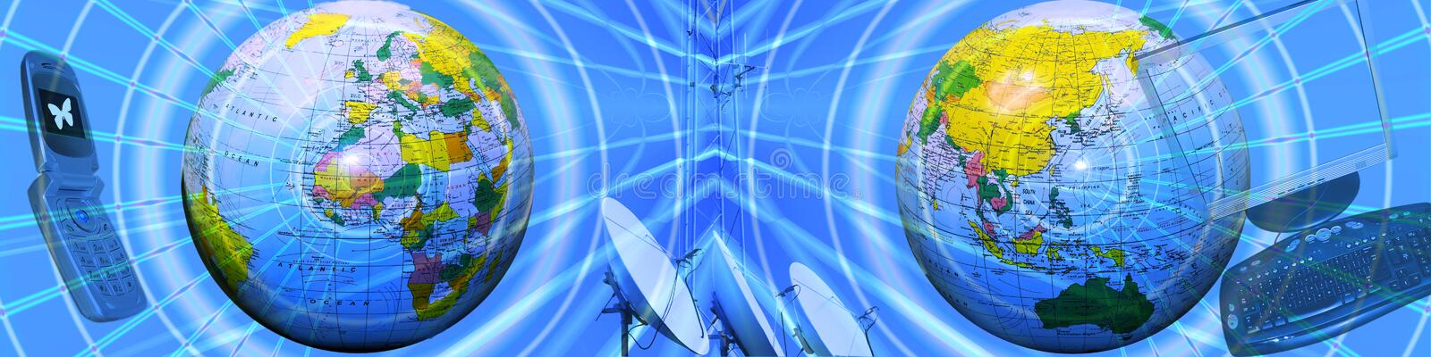 Header: Internet, connections and directions. This blue banner / header has an abstract background with grid like patterns and lines going in all directions royalty free stock image