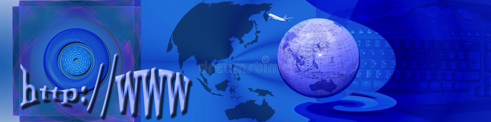 Header Internet and exploration. This banner / header design has a creative abstract background with a gridlike pattern in the circle. The globe, continent vector illustration