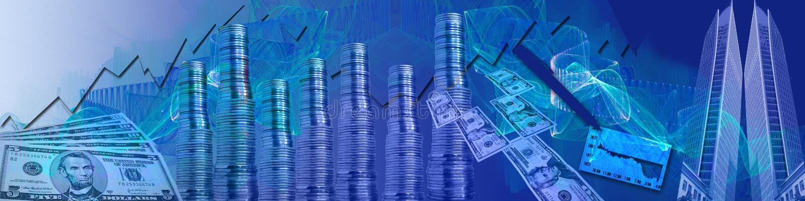 Header: Stock market. The paper money, money towers, statistics, pen and big buildings in this banner/headers are symbolic for the stock market and also for vector illustration