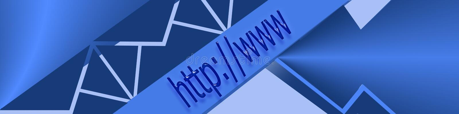 Header Surfing the Internet. Graphic of address bar on computer with an artistic arrow and e-mail envelopes; overall blue tint stock illustration