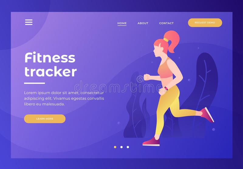 Header for website with picture of athletic girl on run with tracker. Cardio exercises. vector illustration