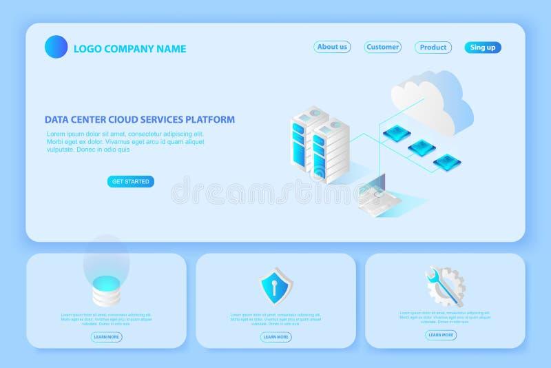 Header for Website of Platform Data center cloud services.page s royalty free illustration