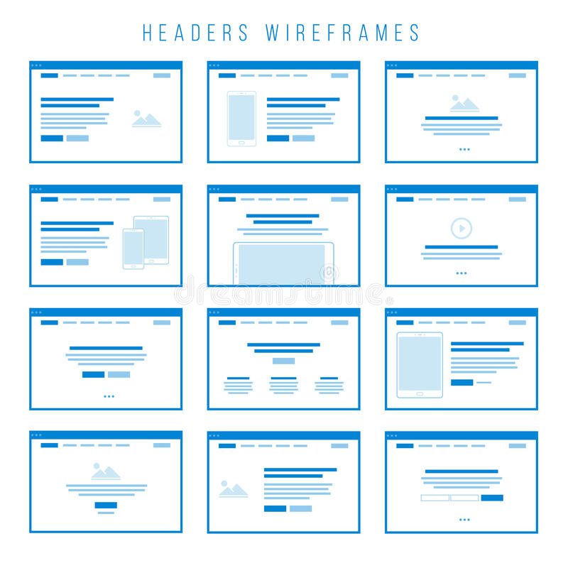 Headers Wireframe components for prototypes. Wireframe components to build your own website mockup. You can combine them to create some unique prototypes and to vector illustration