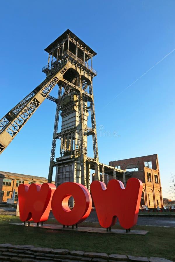 Headframe des C-Bergwerkes in Belgien lizenzfreie stockbilder