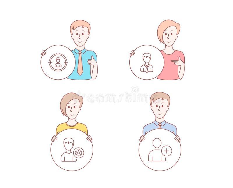 Headhunting、支持和商人象 添加符号用户 目标的人,编辑外形,用户数据 向量 库存例证