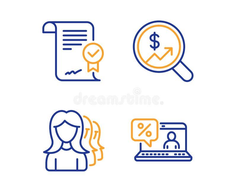 批准的headhunting协议、的妇女和货币审计象集合 网上贷款标志 ?? 库存例证