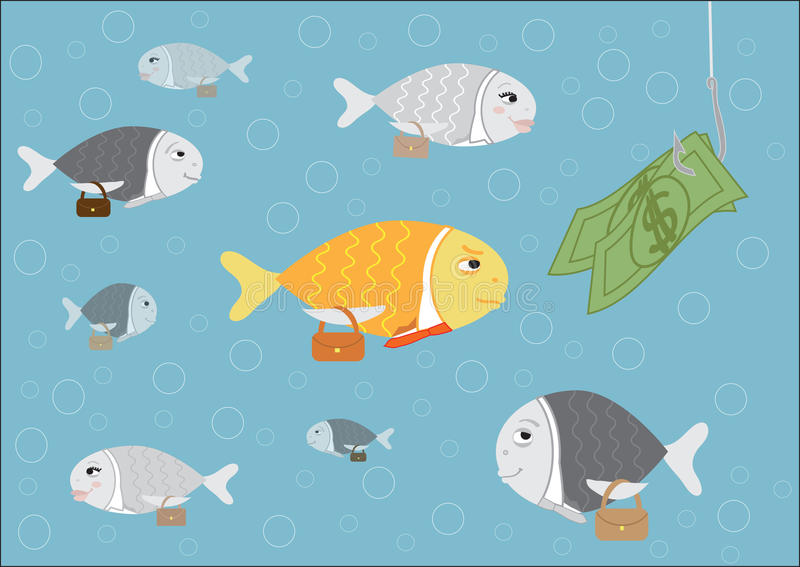 Headhunting. Fishing: Humorous illustration on headhunting royalty free illustration