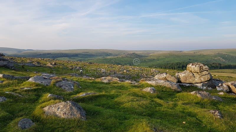 Heading ner nord från sheepstor dartmoor devon royaltyfria foton