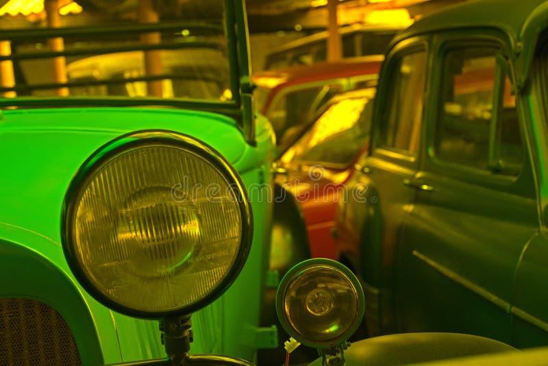 Headlamp of a vintage car stock photo
