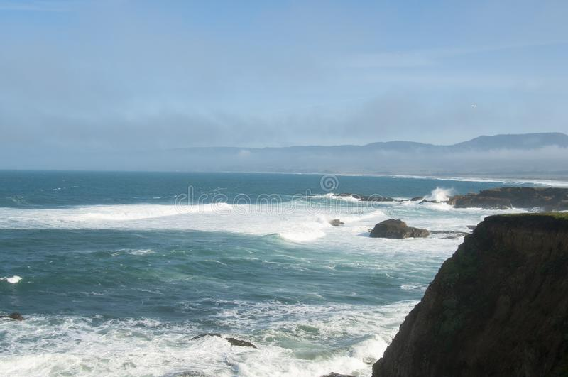 Mendocino Coast Winter Headlands. Headlands and surf along the Mendocino County, California Coast north of Point Arena on a sunny winter day stock image