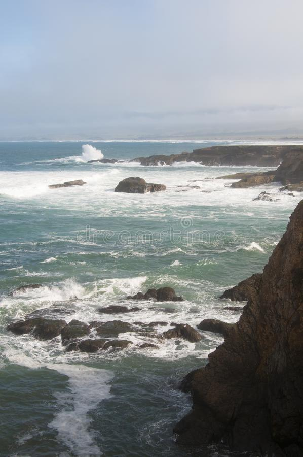 Mendocino Coast Winter Headlands. Headlands and surf along the Mendocino County, California Coast north of Point Arena on a sunny winter day stock photography