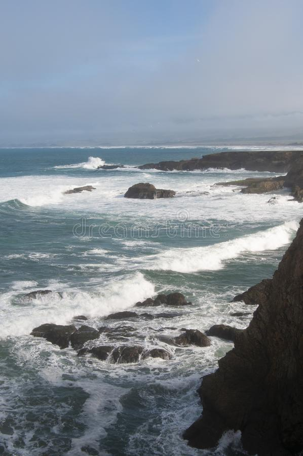 Mendocino Coast Winter Headlands. Headlands and surf along the Mendocino County, California Coast north of Point Arena on a sunny winter day royalty free stock photos
