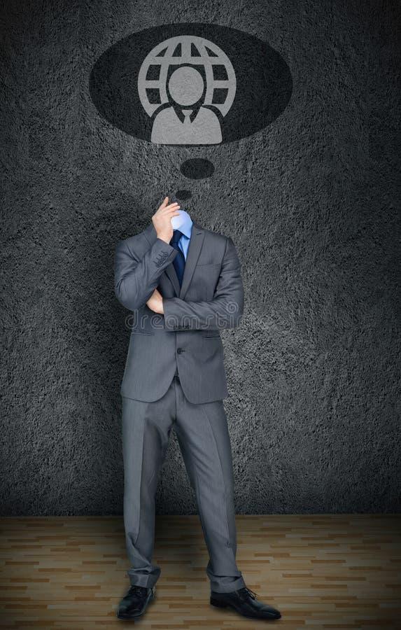 Headless businessman with speech bubble stock photo