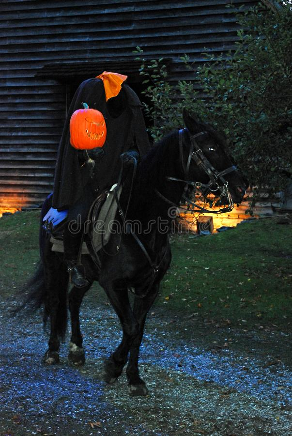 Headless Horseman Rides in Sleepy Hollow,. The Headless Horseman Rides in Sleepy Hollow, NY on Halloween night stock image