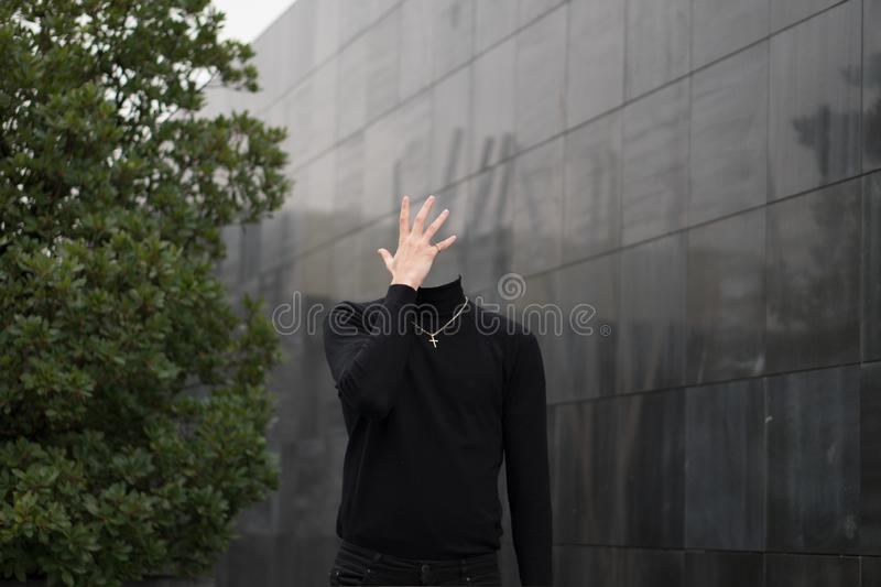 Headless man in the city royalty free stock photo
