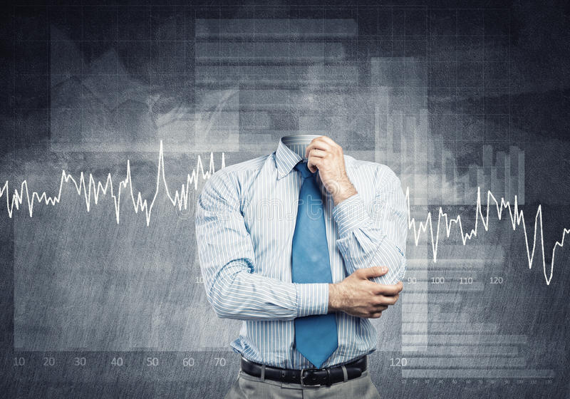 Headless pensive businessman. Businessman without head and his arm on chin thinking something over stock image