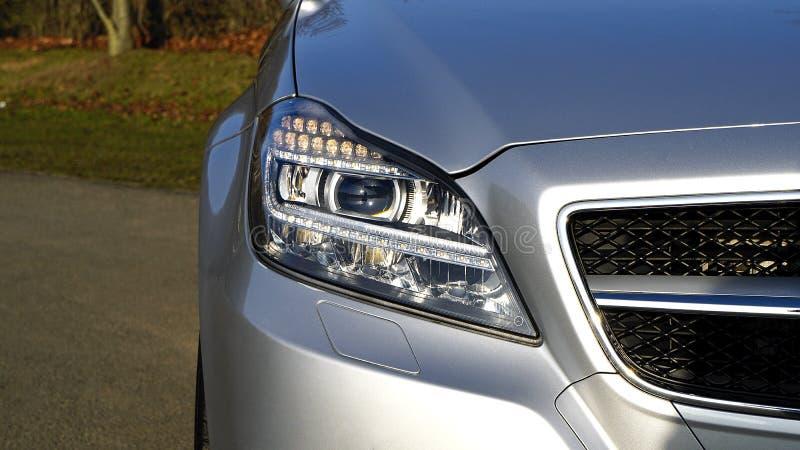 Headlight on car stock photography