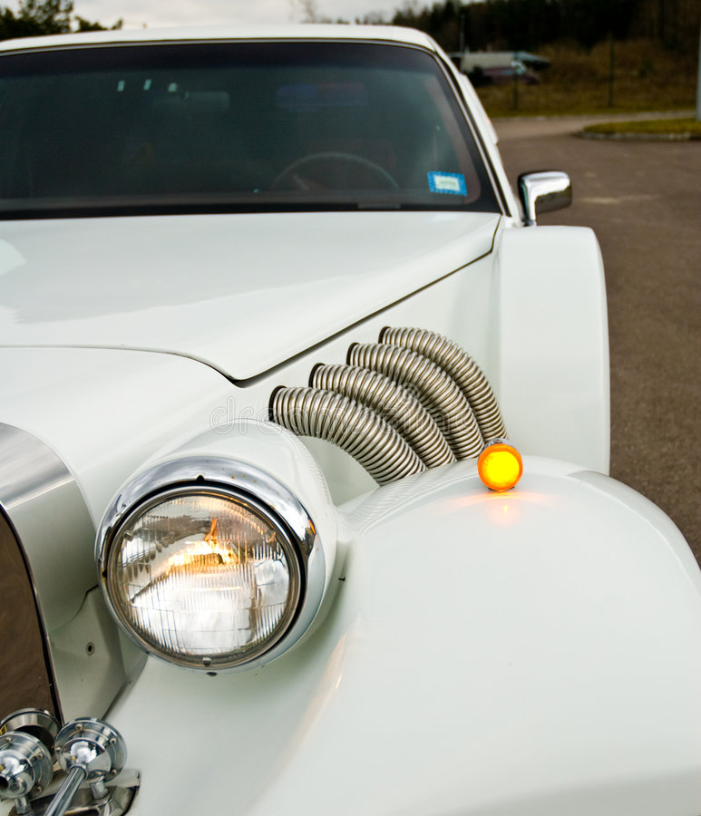 Headlight on Excalibur Limo stock photography